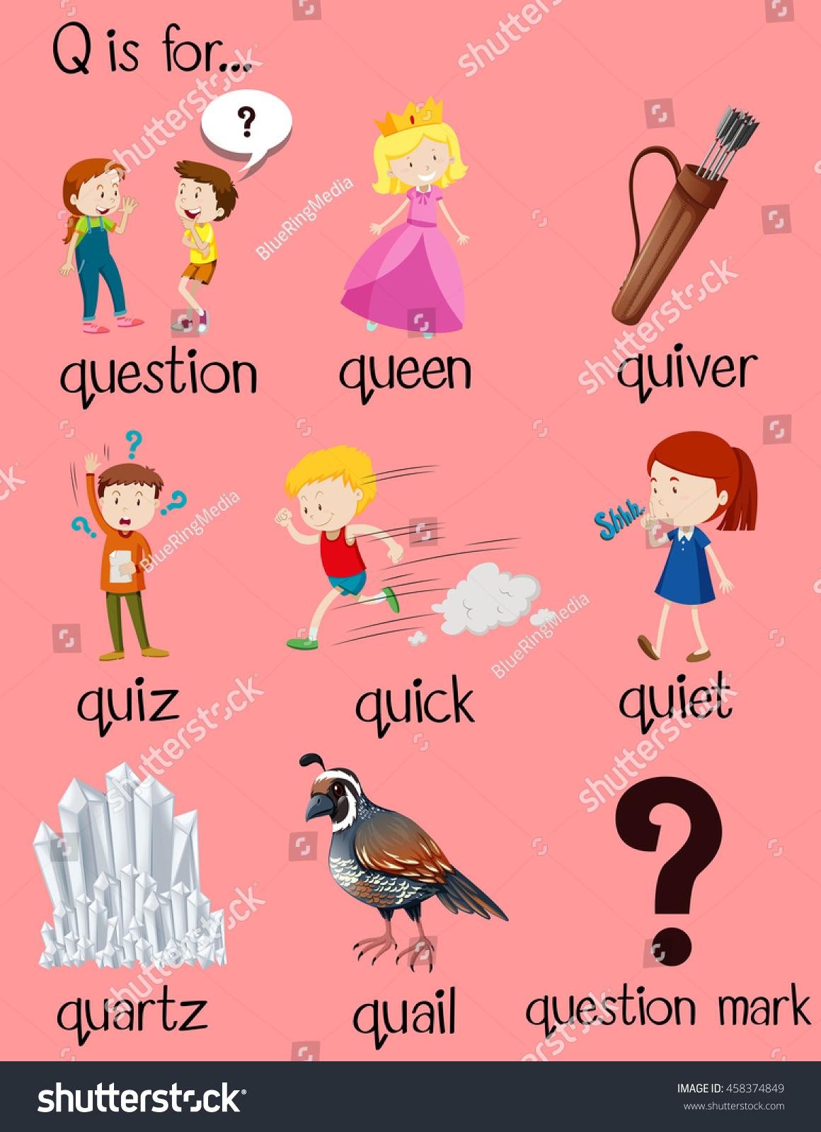 Many Words Begin Letter Q Illustration Stock Vector