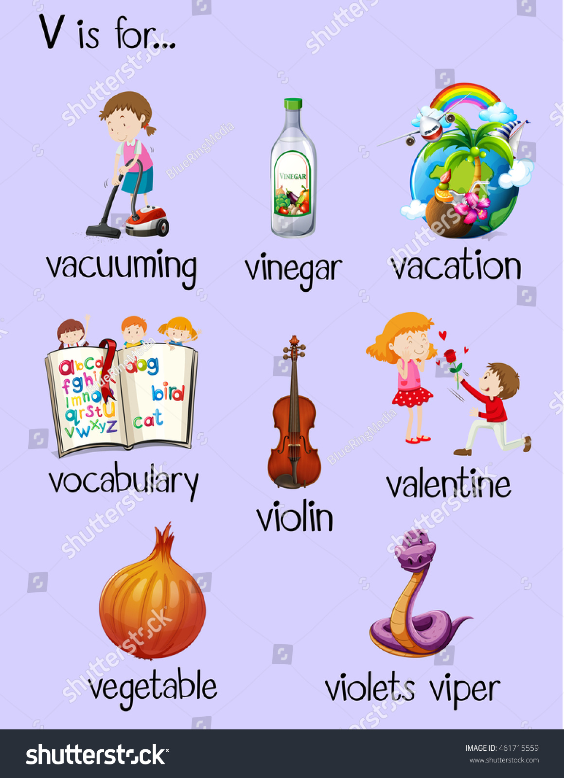 Many Words Begin Letter V Illustration Stock Vector