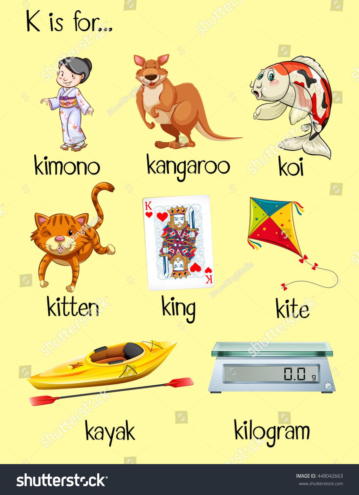 Many Words Start With Letter K Illustration