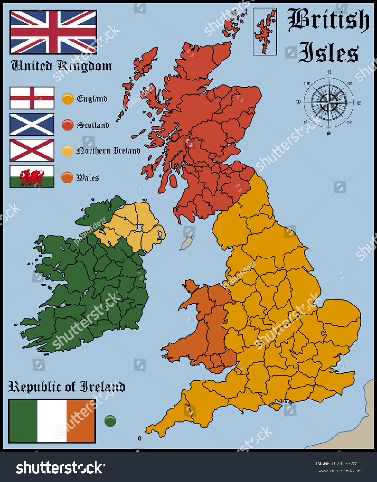 Map And Flags Of British Isles Stock Vector