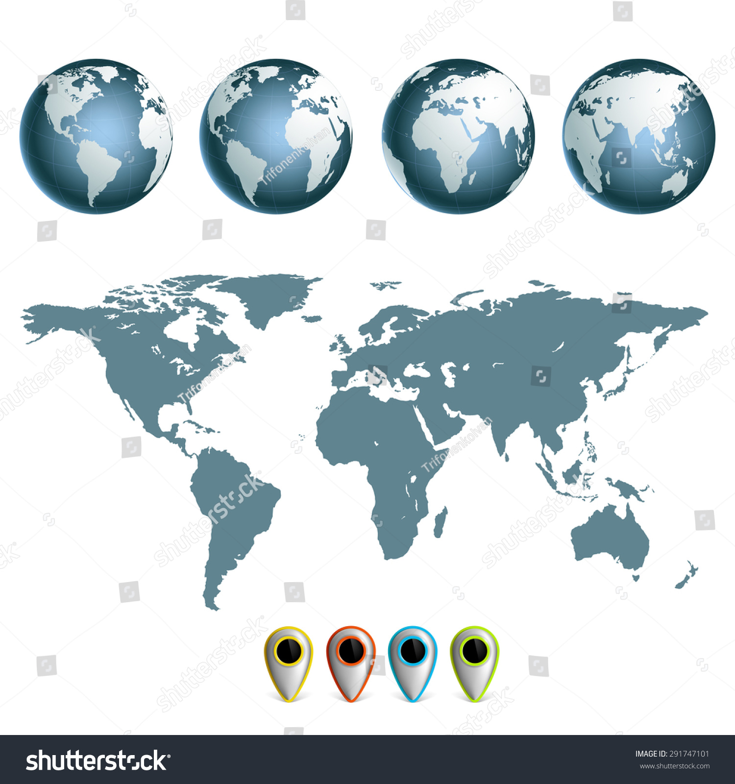 Map Earth Planet Continents Set Hemispheres Stock Vector