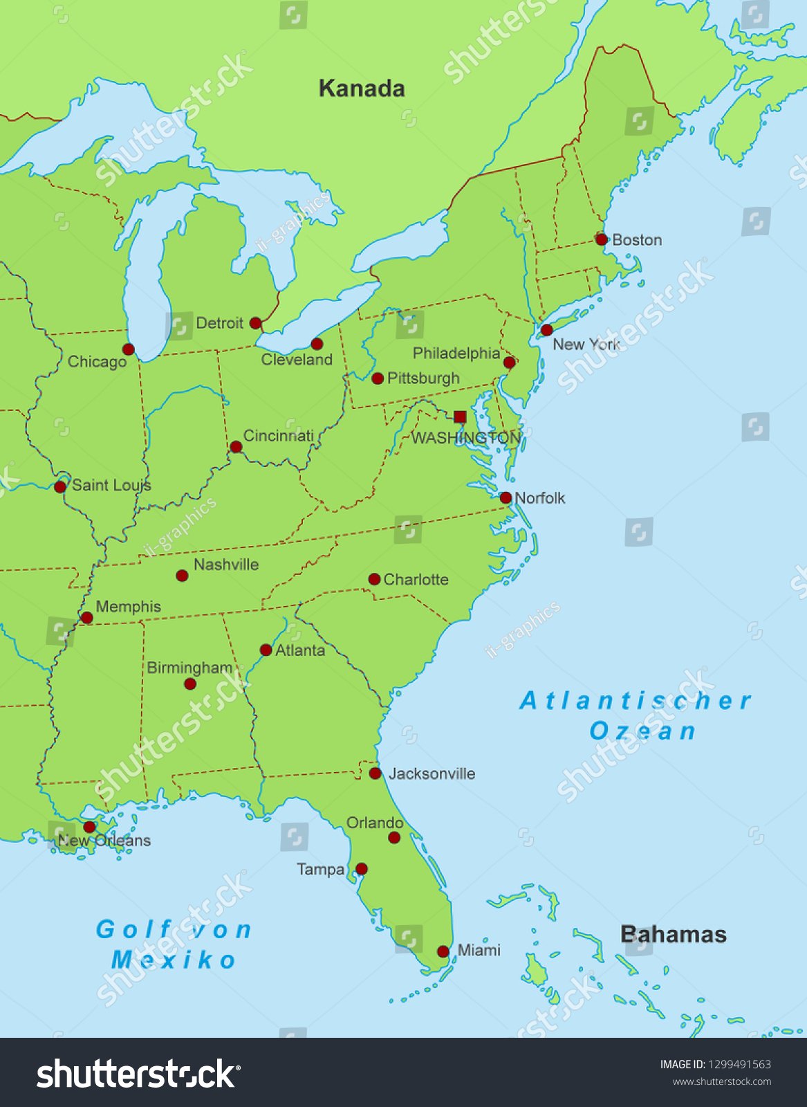 East Coast State Map