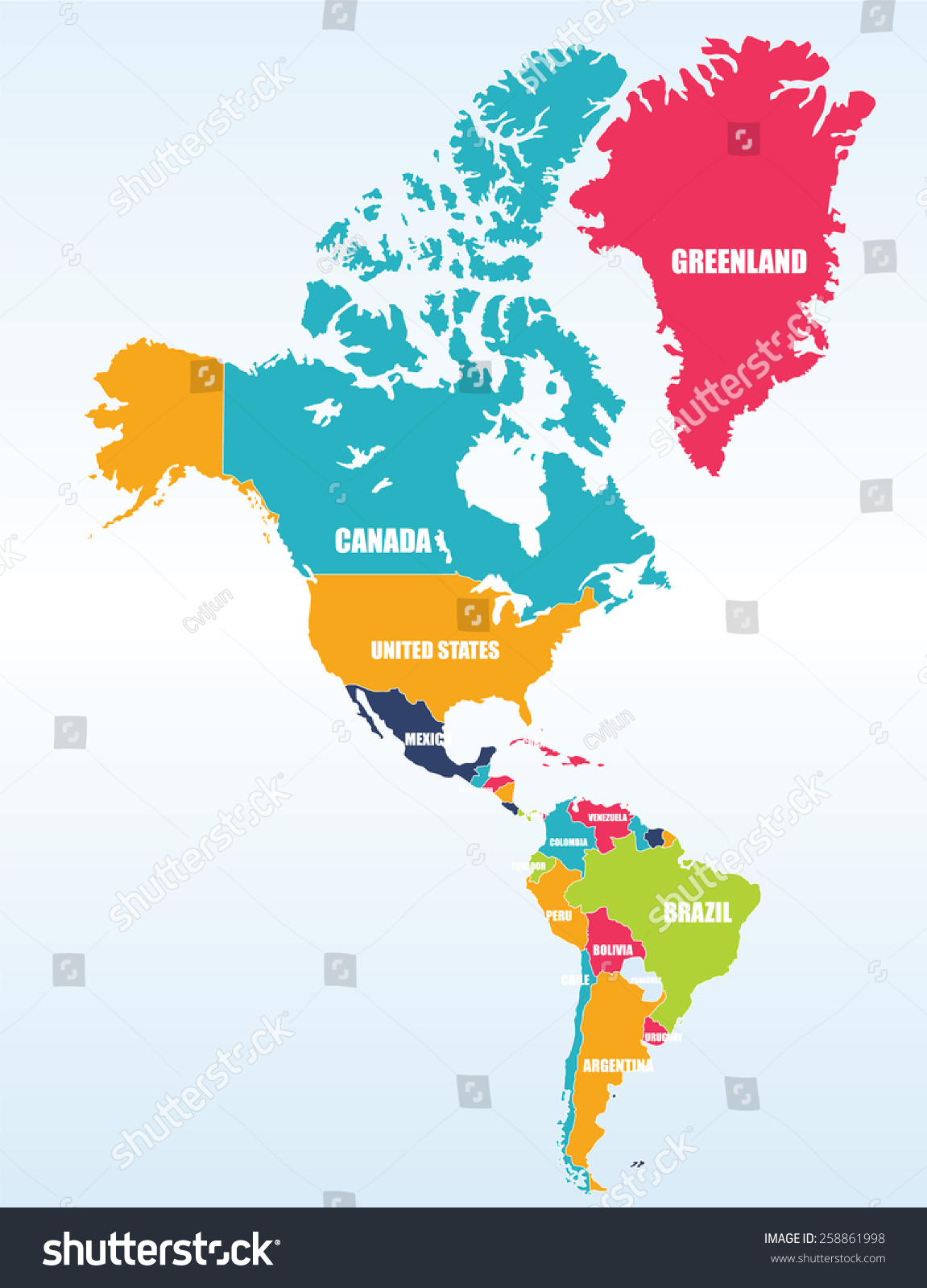 Map North South America Stock Vector