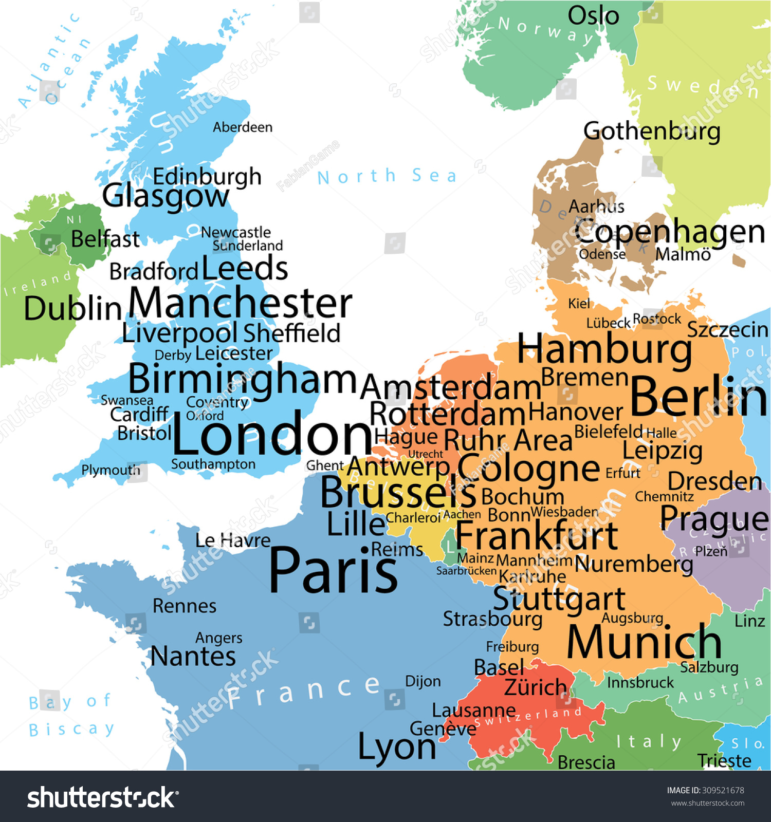 Map Western Europe Largest Cities Carefully Stock Vector Royalty Free 309521678