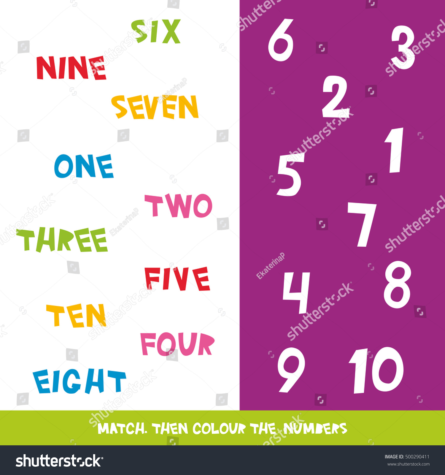 Match Colour Numbers 1 10 Kids Stock Vector