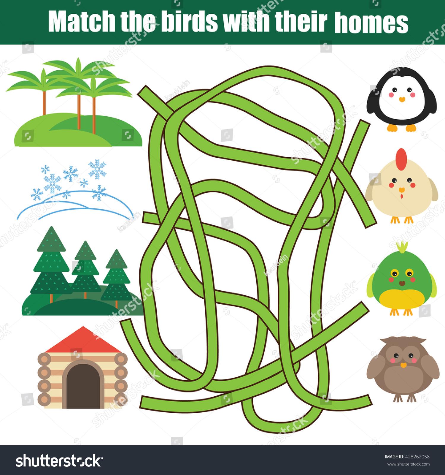 Matching Game Match Birds Homes Children Stock Vector