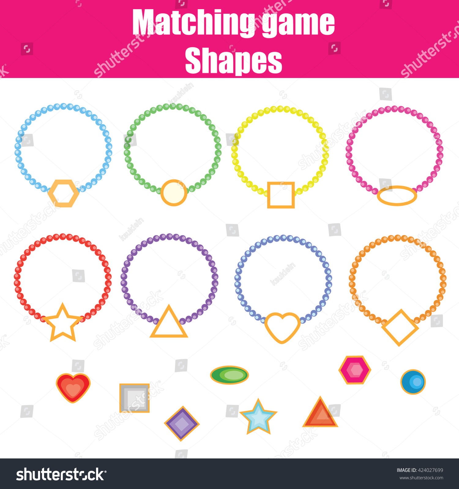 Matching Game Match The Shapes Task Learning Geometry