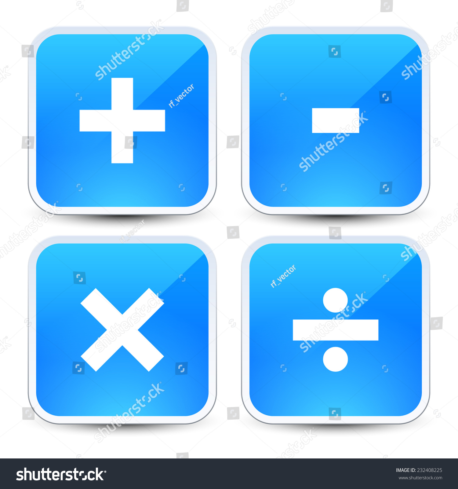 Math Symbols On Blue Backgrounds Addition Stock Vector