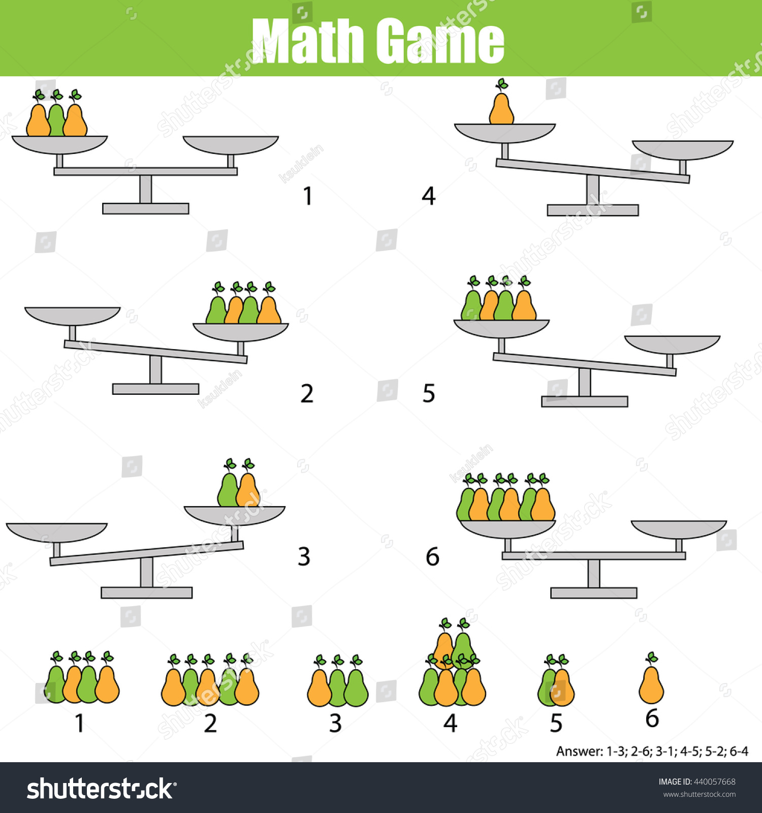 Mathematics Educational Game Children Balance Scale Stock Vector