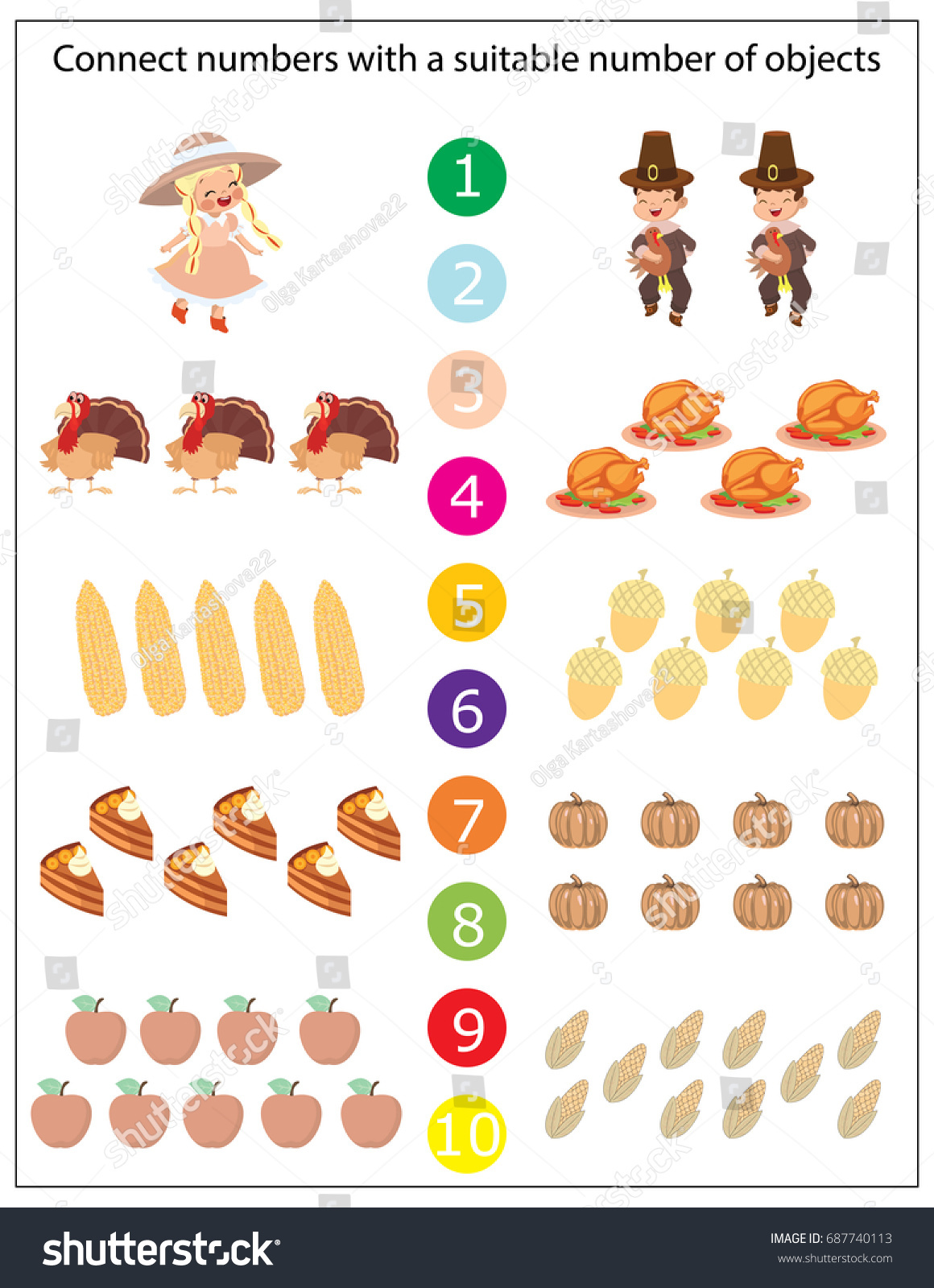 Mathematics Kindergarten Worksheet Kids Printable Game Stock Vector