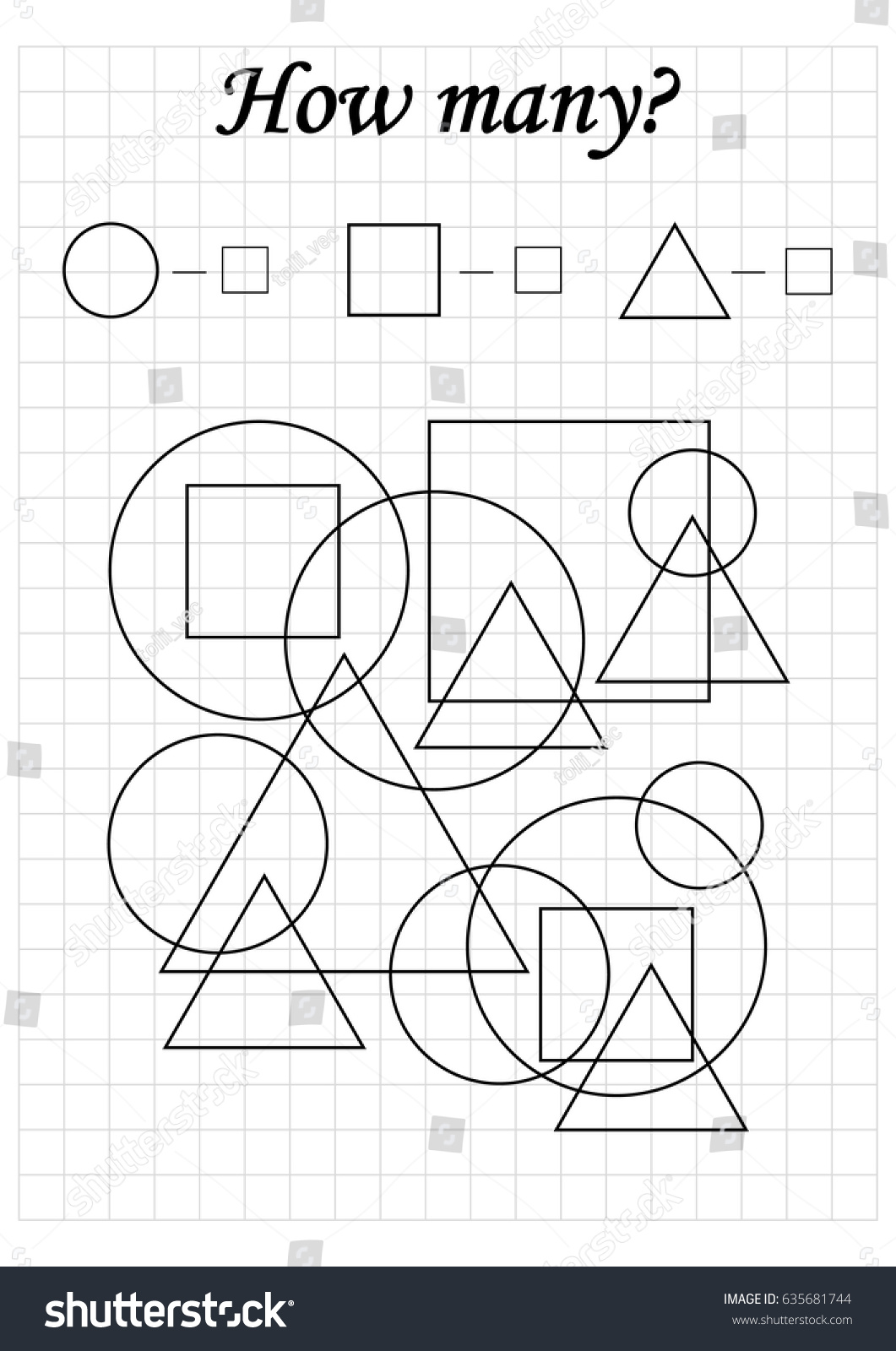 Mathematics Task How Many Objects Learning Stock Vector