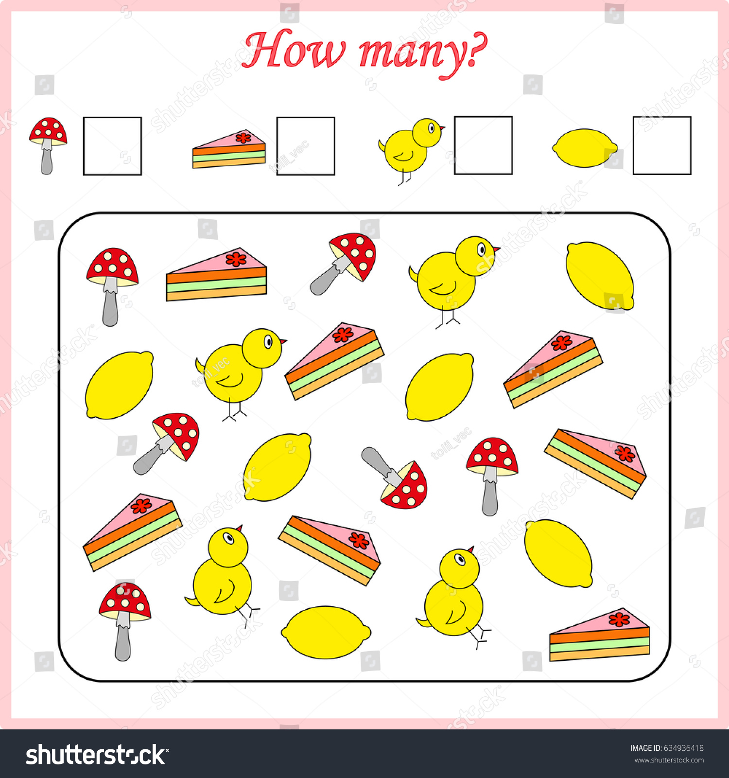 Mathematics Task How Many Objects Learning Stock Vector