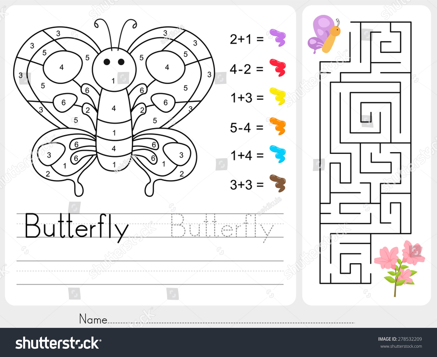 Maze Game Color By Numbers Worksheet Stock Vector