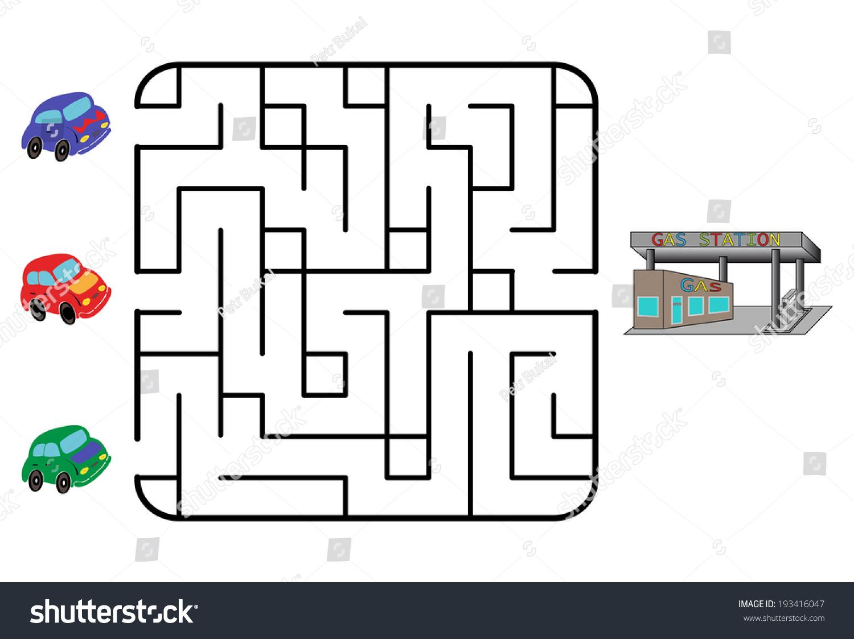 Maze Game Children Find Way Car Stock Vector