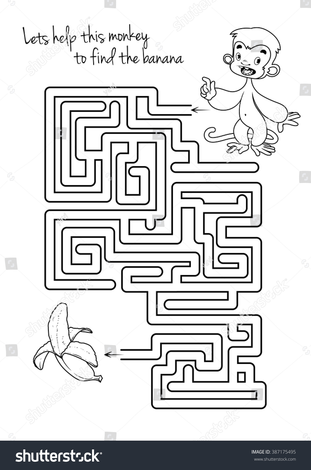 Maze Game Kids Monkey Banana Lets Stock Vector