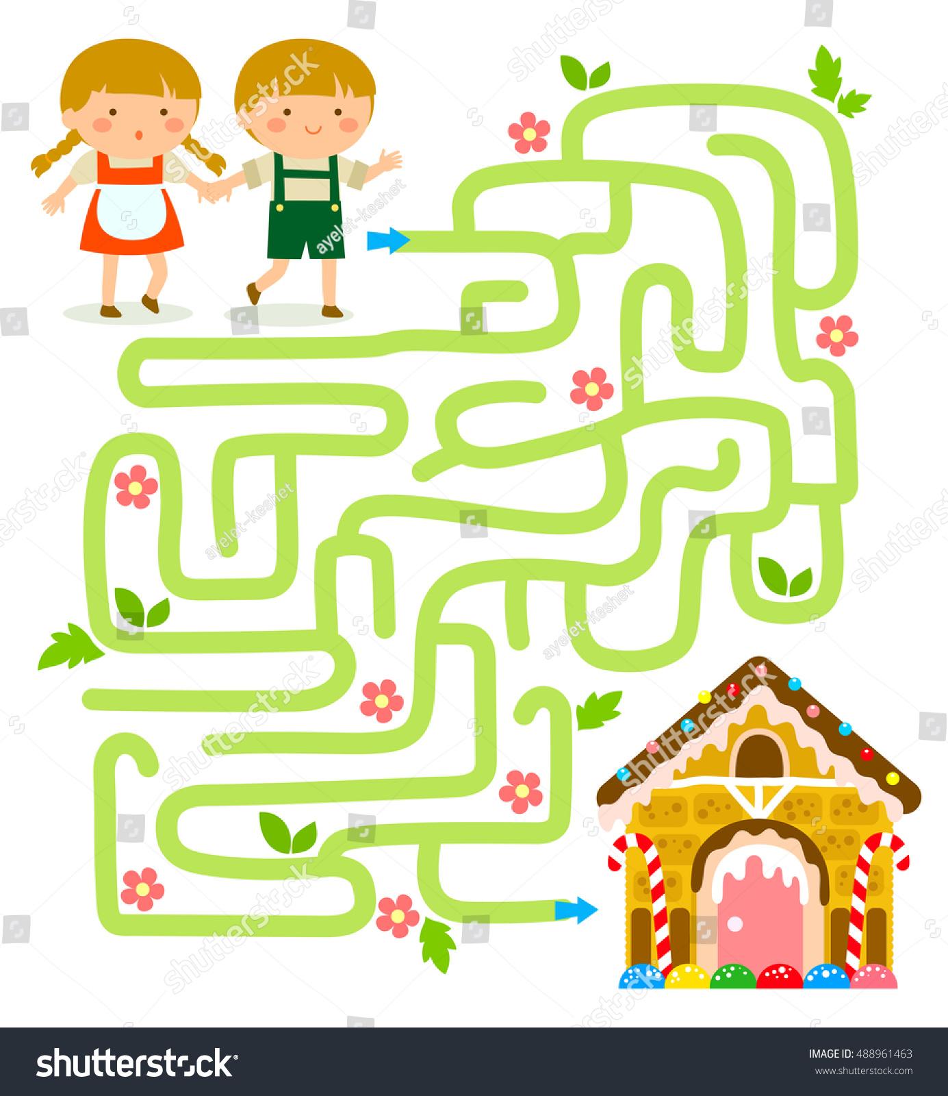 Maze Game Hansel Gretel Find Gingerbread Stock Vector