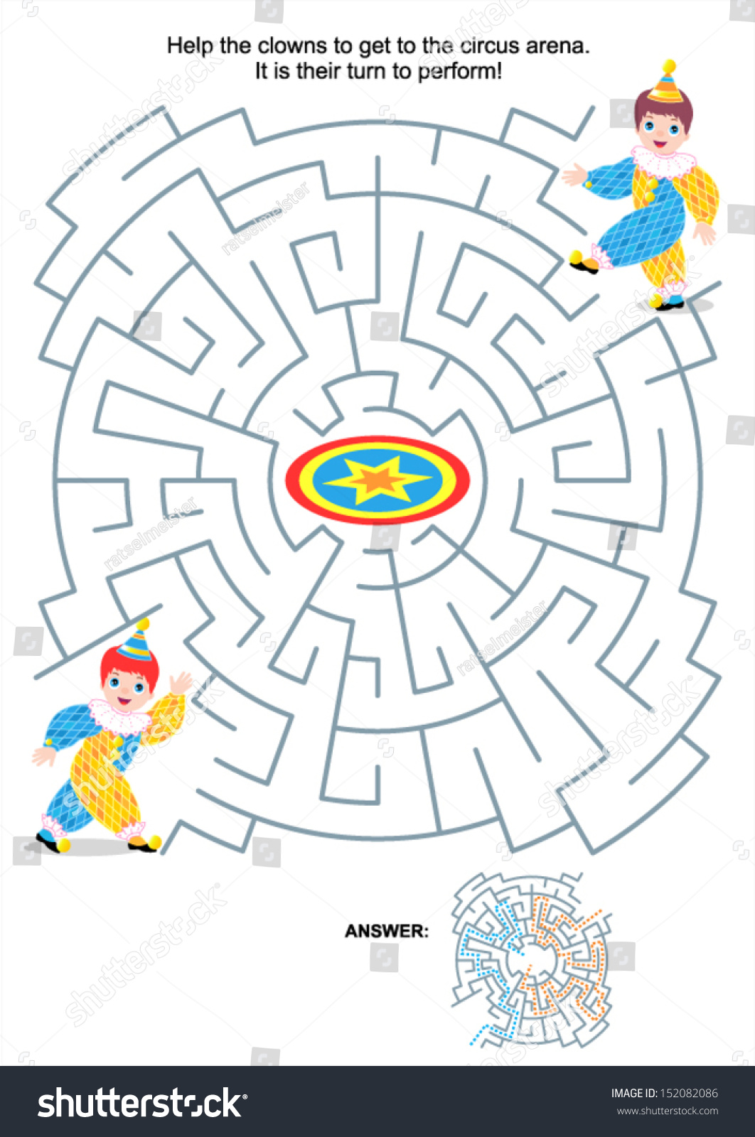Maze Game Activity Page Kids Help Stock Vector