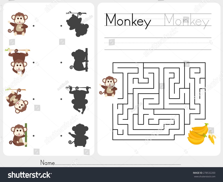 Maze Game Worksheet Education Stock Vector