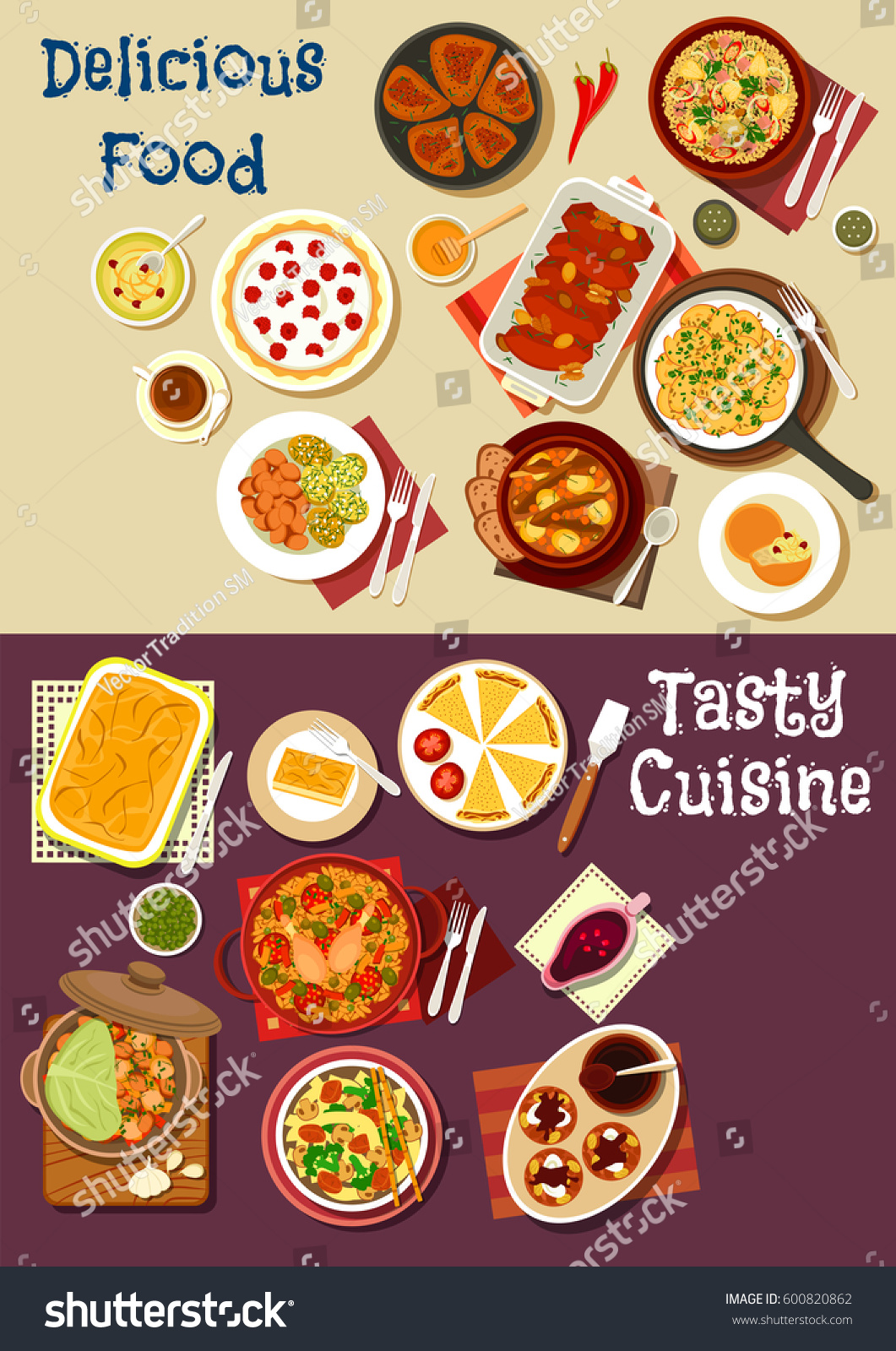 Mediterranean Asian Cuisine Icon Meat Vegetable Stock