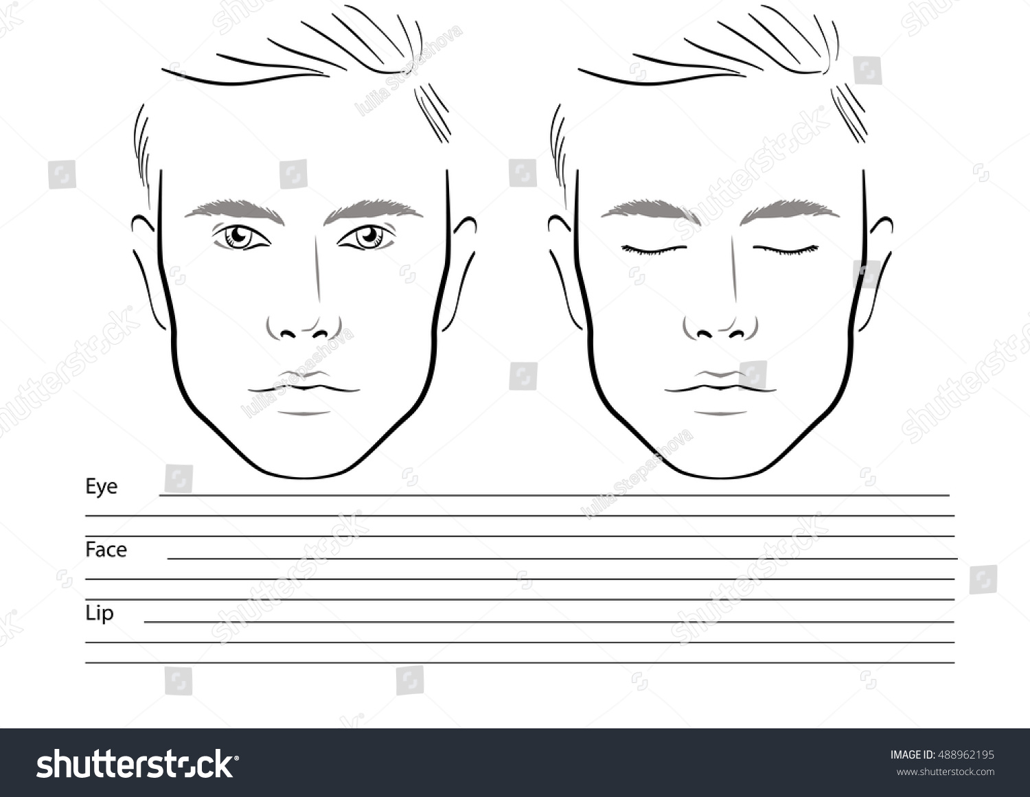 Men Face Chart Makeup Artist Blank Stock Vector