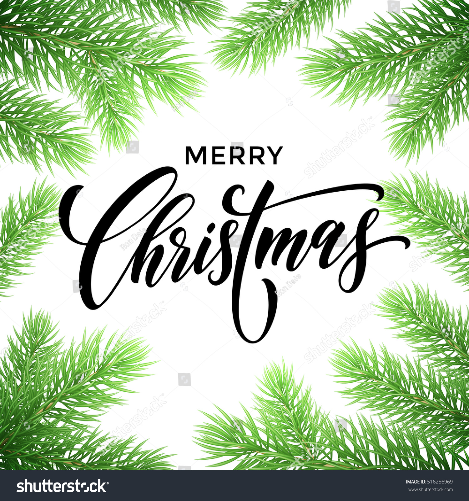 Merry Christmas Greeting Card Poster Template Stock Vector