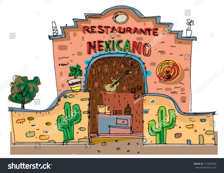 Mexican Restaurant Cartoon Stock Vector