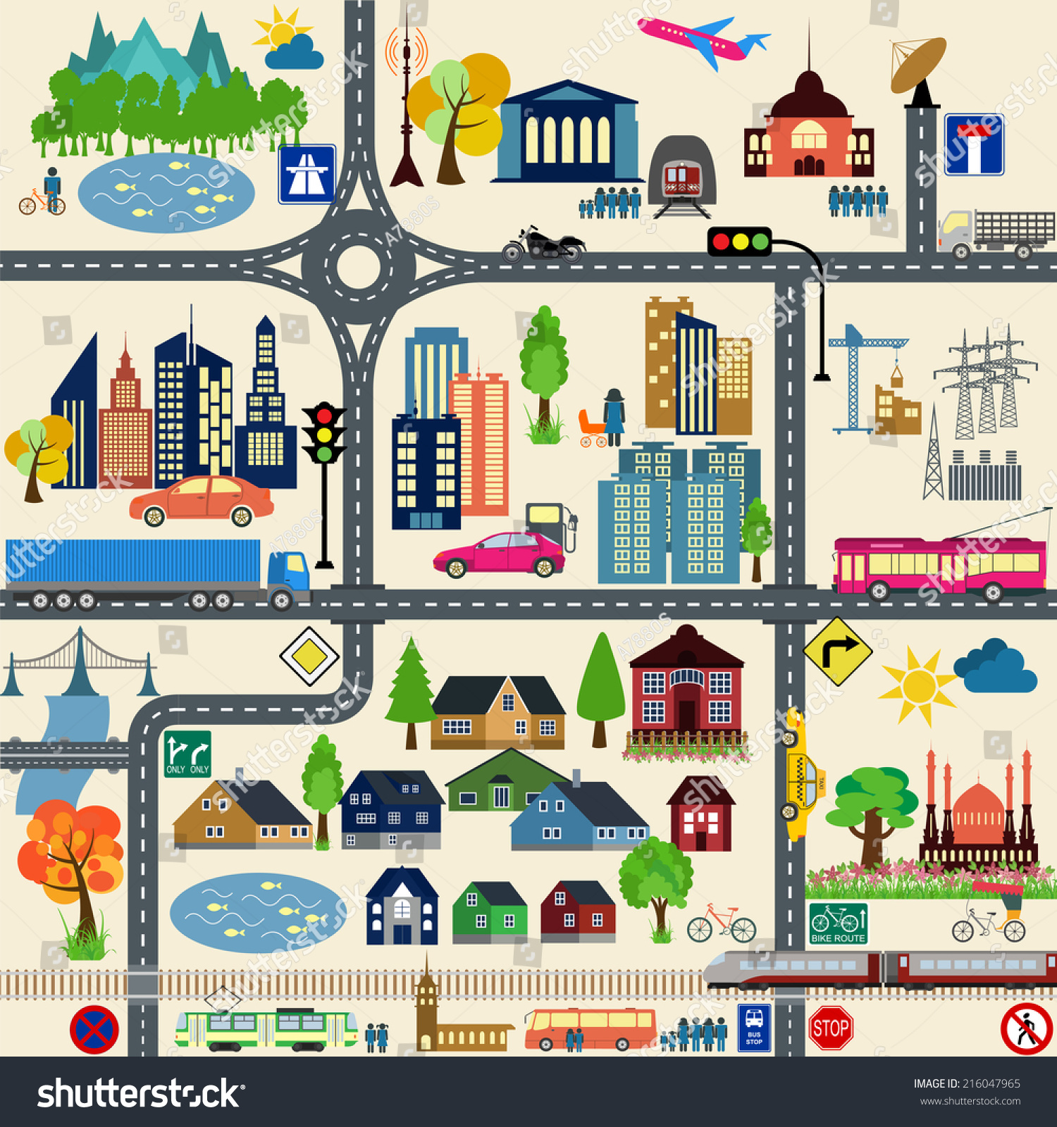 Modern City Map Elements Generating Your Stock Vector