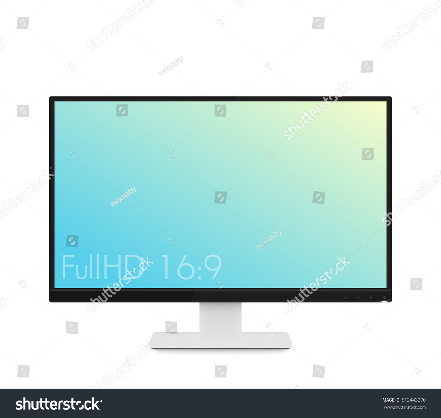 Modern High Definition Computer Monitor With An Image Of A Cloudy