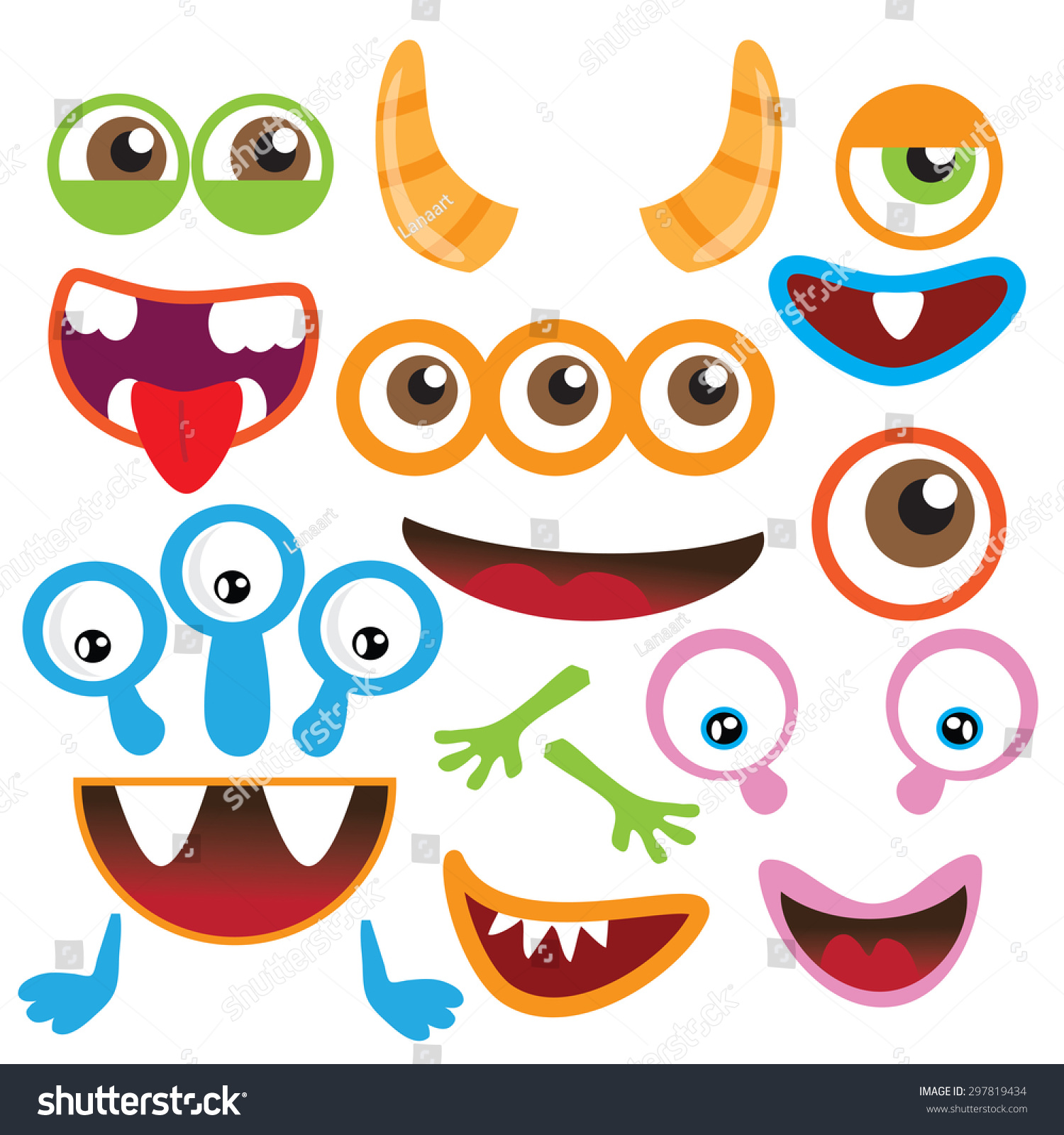 Monster Parts Vector Illustration Stock Vector