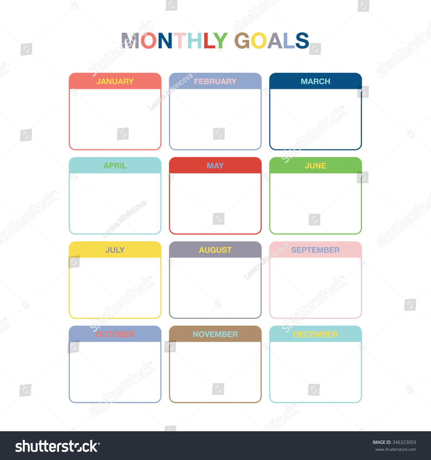 Monthly Goals Calendar Template Year Stock Vector