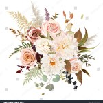 Moody Boho Chic Wedding Vector Bouquet Stock Vector Royalty Free 1419278303