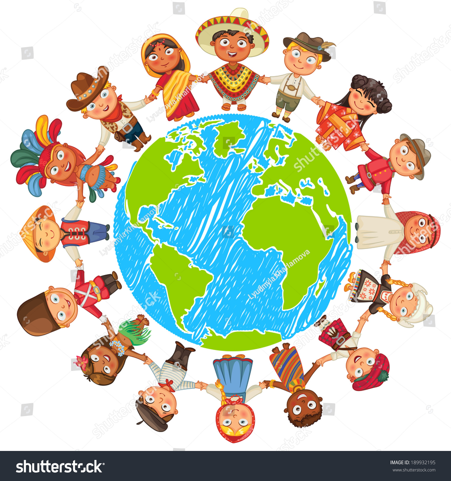 Nationalities Different Culture Standing Together Holding