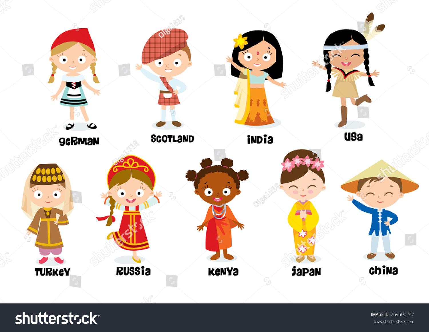 Nationalities Children Stock Vector