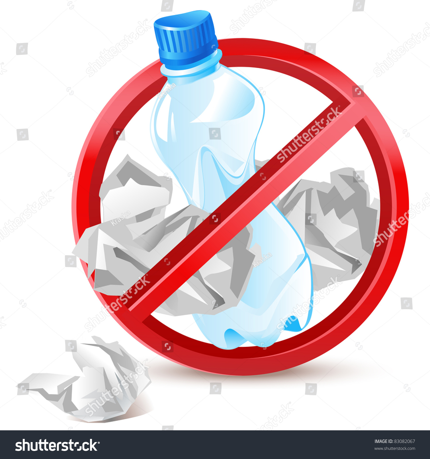 No Littering Warning Sign Waste Paper Stock Vector