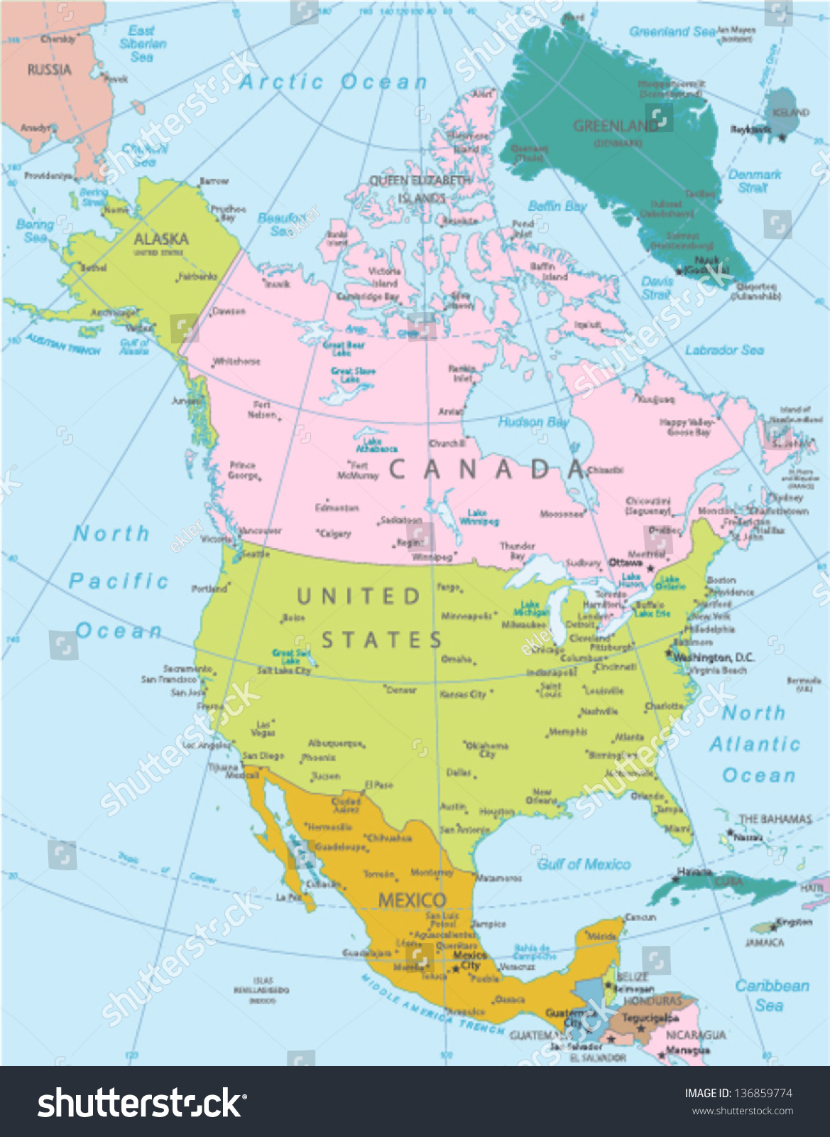 North America Highly Detailed Map Elements Stock Vector
