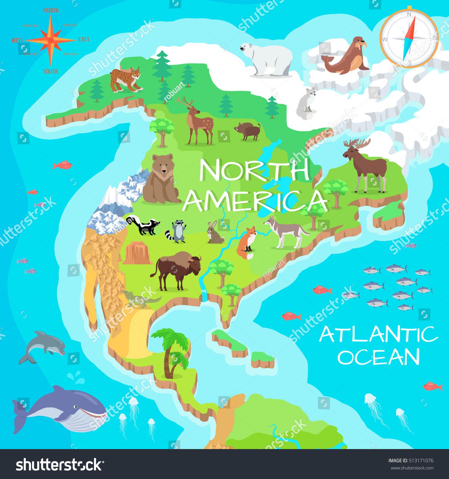 North America Isometric Map Flora Fauna Stock Vector
