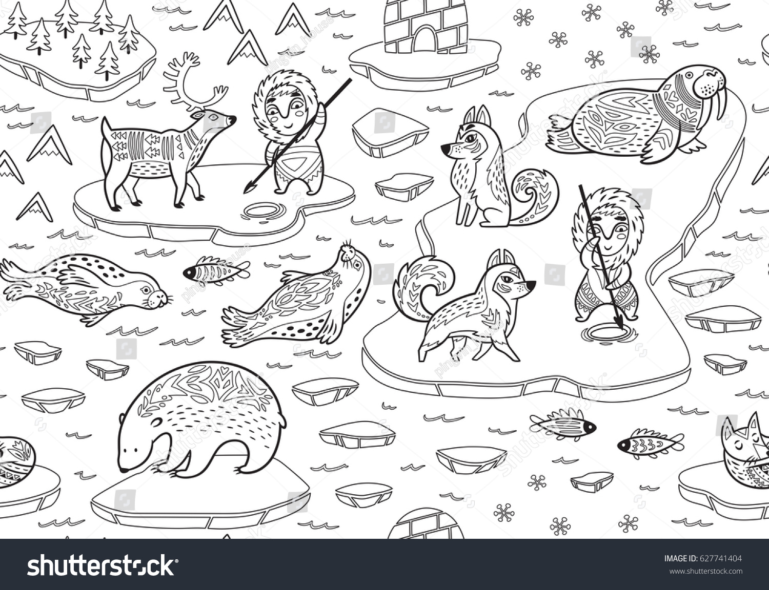 North Pole Outline Seamless Pattern Inuit Stock Vector