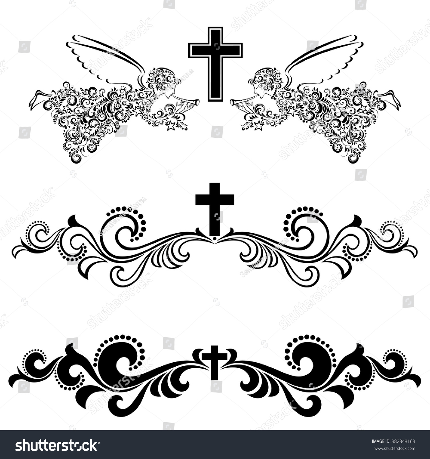Christian Cross Borders And Frames