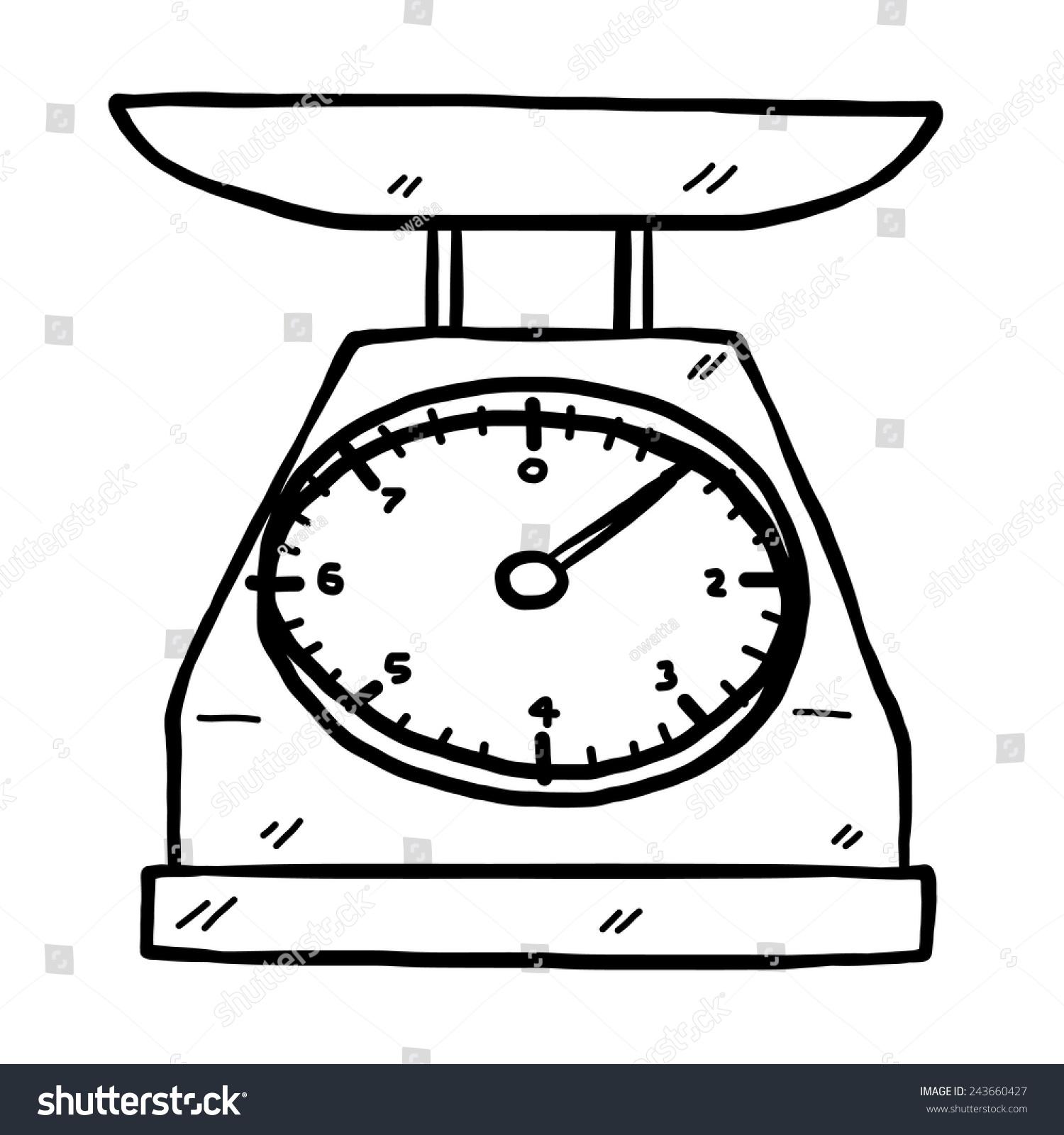 Old Kitchen Scales Cartoon Vector Illustration Stock