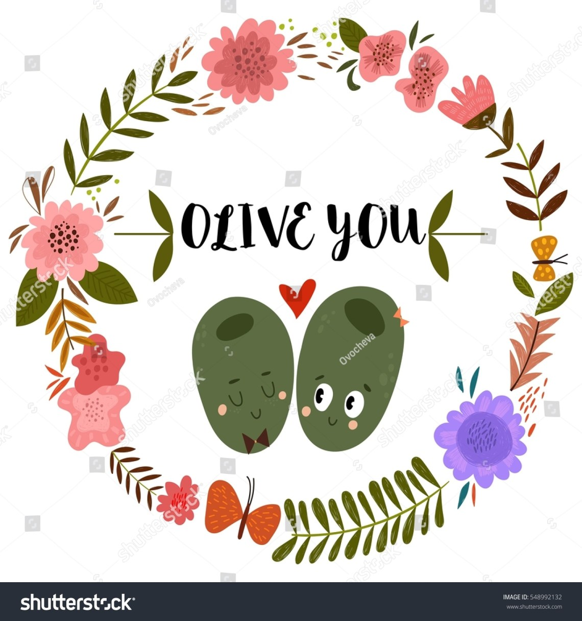 Download Olive You Romantic Hand Drawn Card Stock Vector 548992132 ...