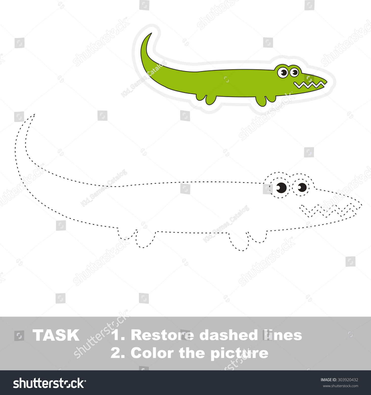 One Cartoon Green Alligator Be Traced Stock Vector
