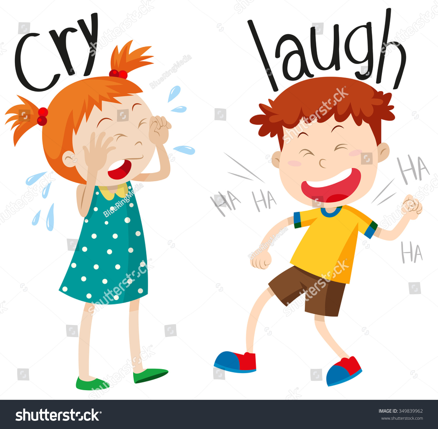 Opposite Adjectives Cry Laugh Illustration Stock Vector