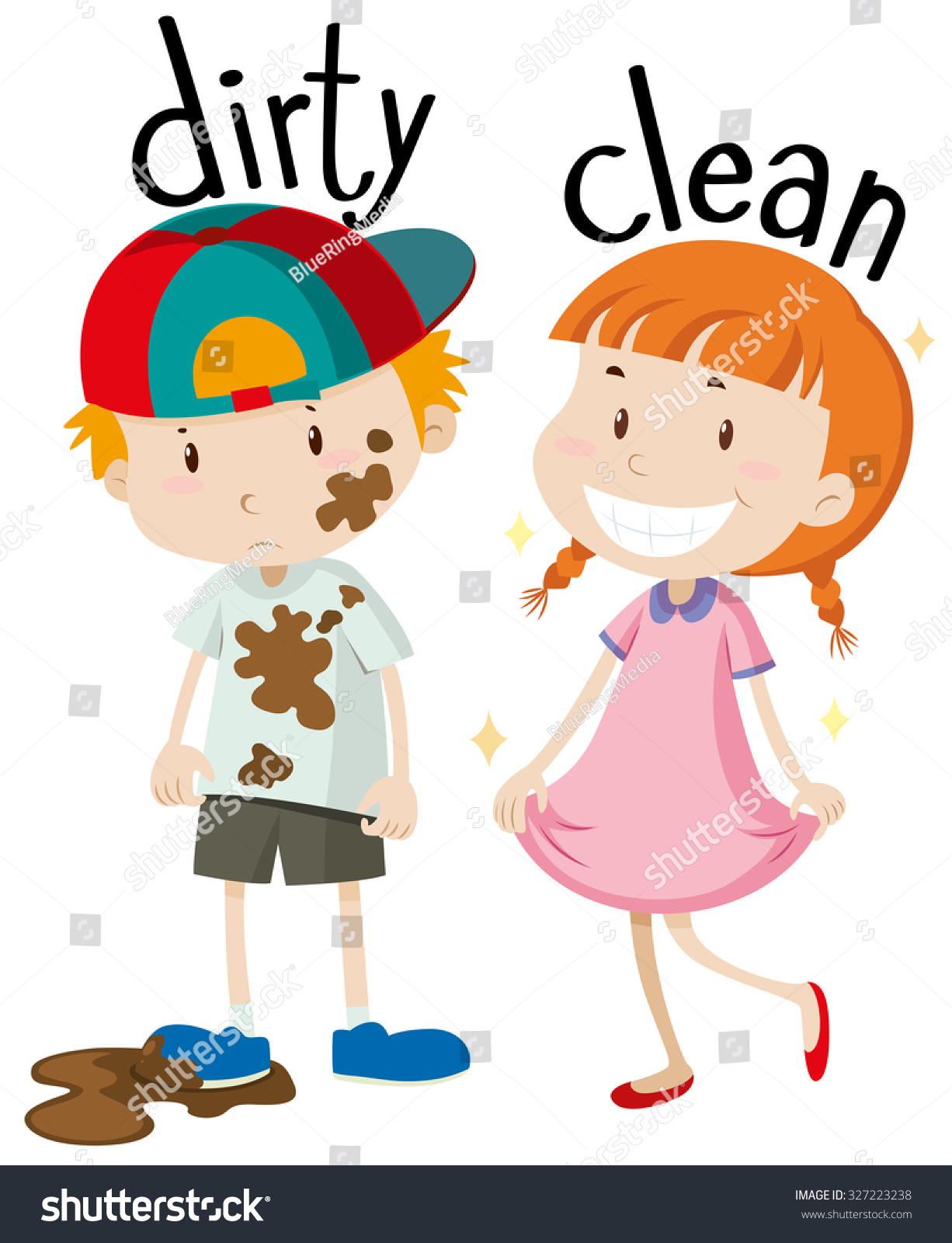 Opposite Adjectives Dirty Clean Illustration Stock Vector