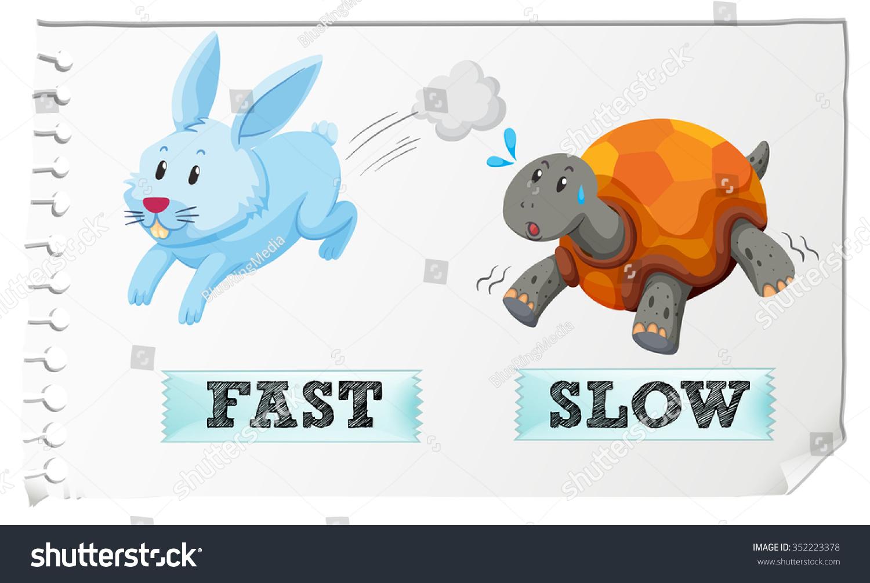 Opposite Adjectives Fast Slow Illustration Stock Vector