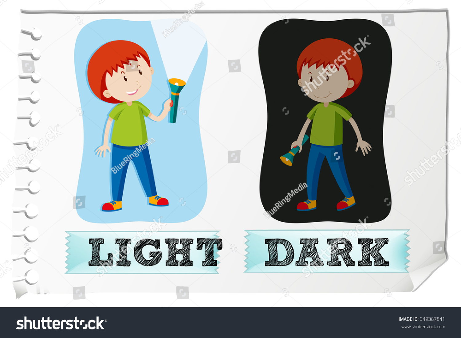 Opposite Adjectives With Light And Dark Illustration
