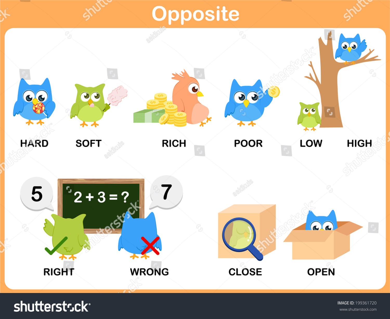 Opposite Word Preschool Hard Soft Rich Stock Vector
