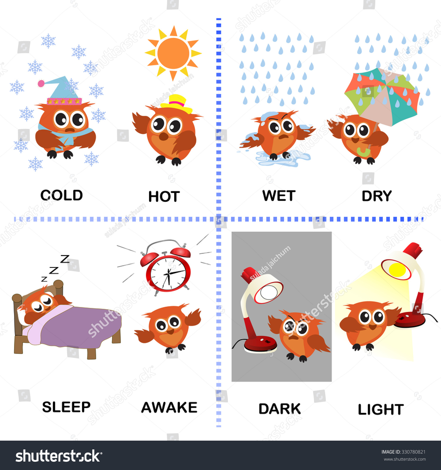 Opposite Word Vector Background Preschool Cold Stock Vector