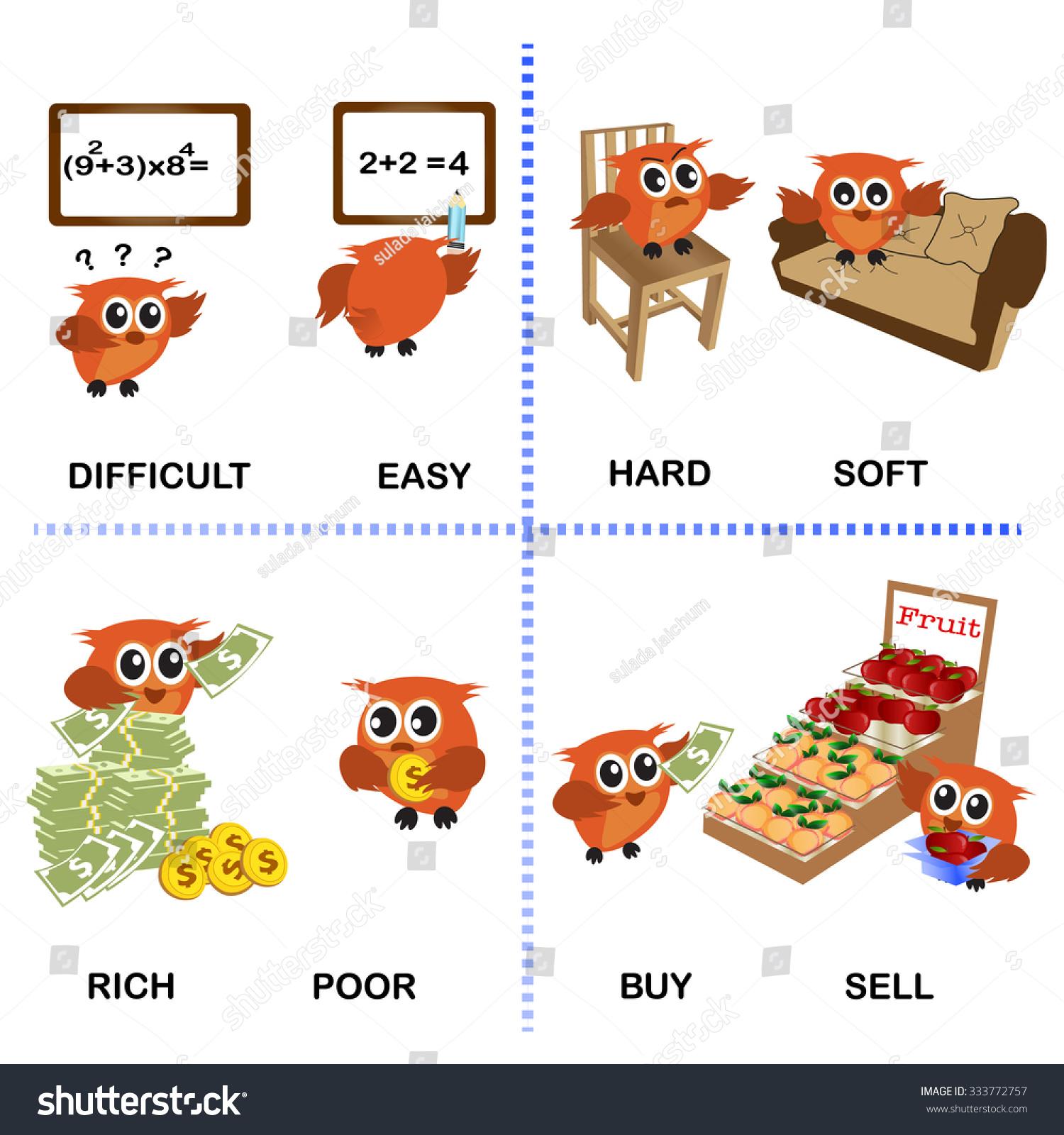 Opposite Word Vector Background Preschool Difficult Stock