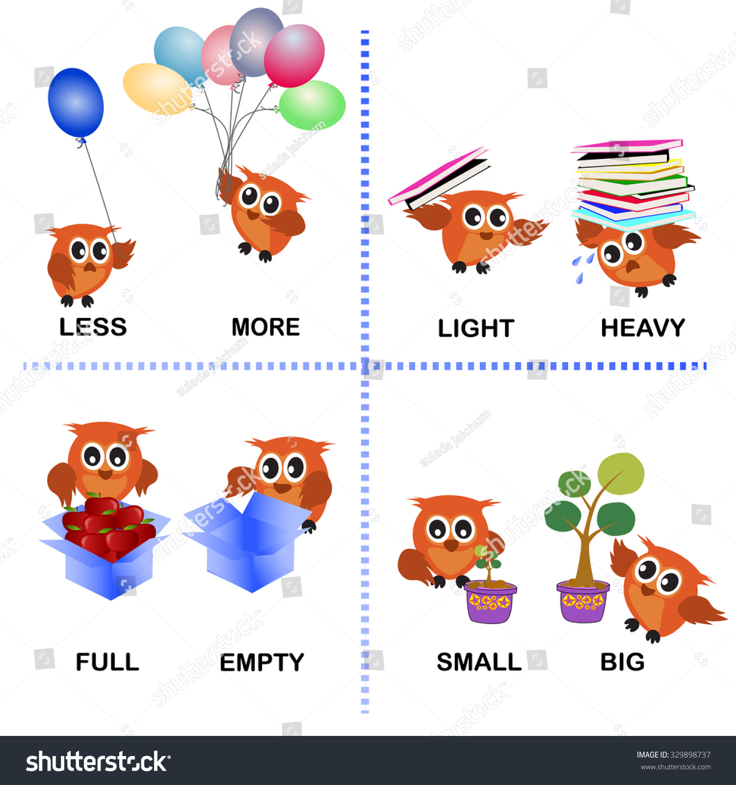 Opposite Word Vector Background Preschool Less Stock Vector