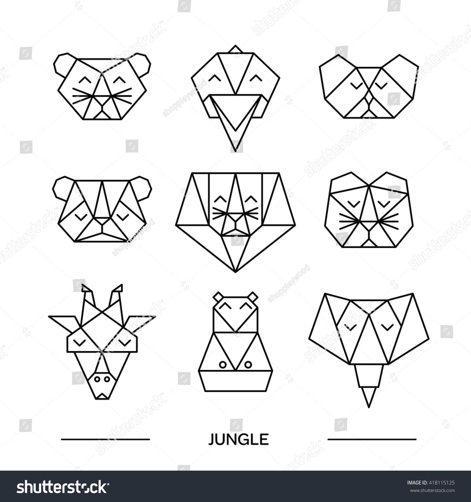 Origami Vector Animals Animal Triangle Heads Vector
